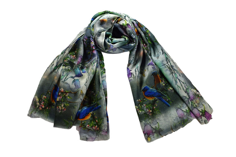 Merino Wool Pashmina - Flowers & Birds printed