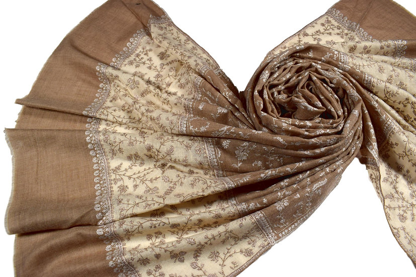 Hand-Embroidered 100% Cashmere Pashmina
