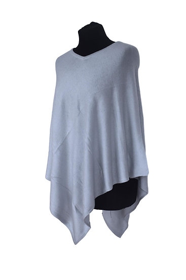 Classic Poncho with Merino Wool - light blue