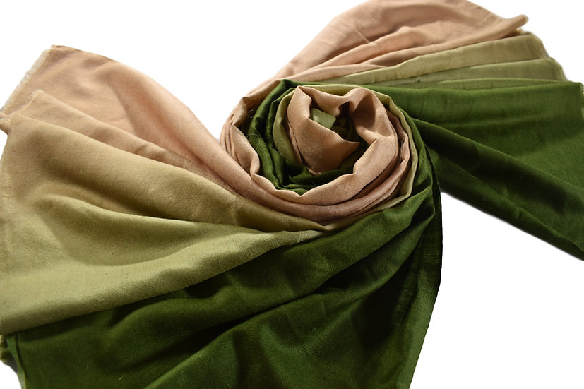 100% Handwoven cashmere Pashmina with Color Gradient - green & beige