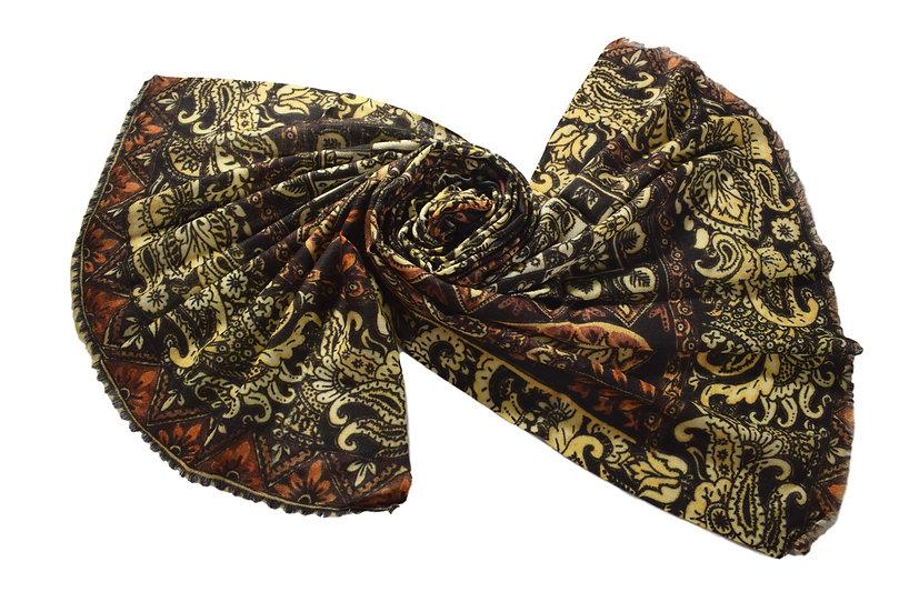 Merino - Wolle Pashmina, Paisley Muster bedruckt