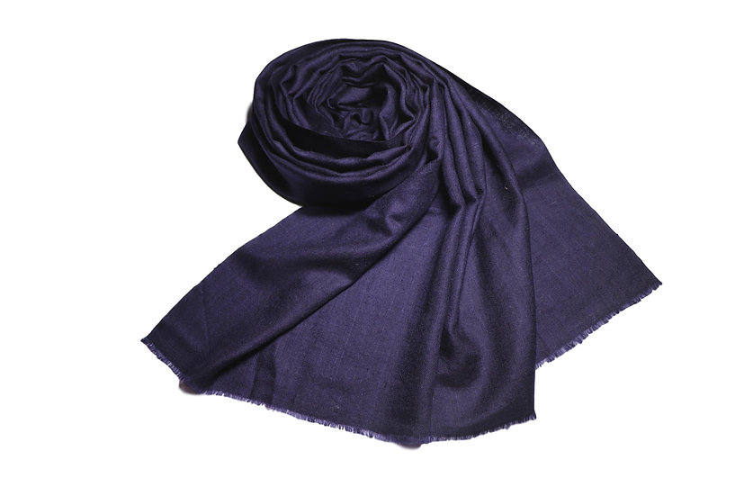 Handwoven 100% Cashmere Pashmina from the Himalayas - dark blue
