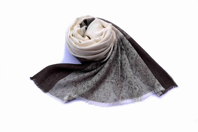Merino Wool Pashmina, White Gray with Ornaments