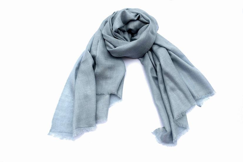 100% handgewebter Kaschmir - Pashmina aus dem Himalaya, graublau