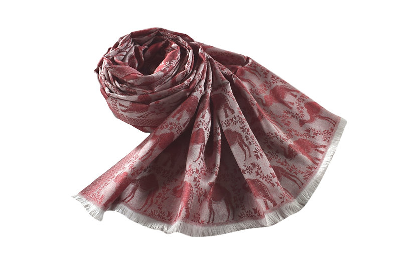 Vegan Double-Sided Animal Patterned  Pashmina Red & Brown