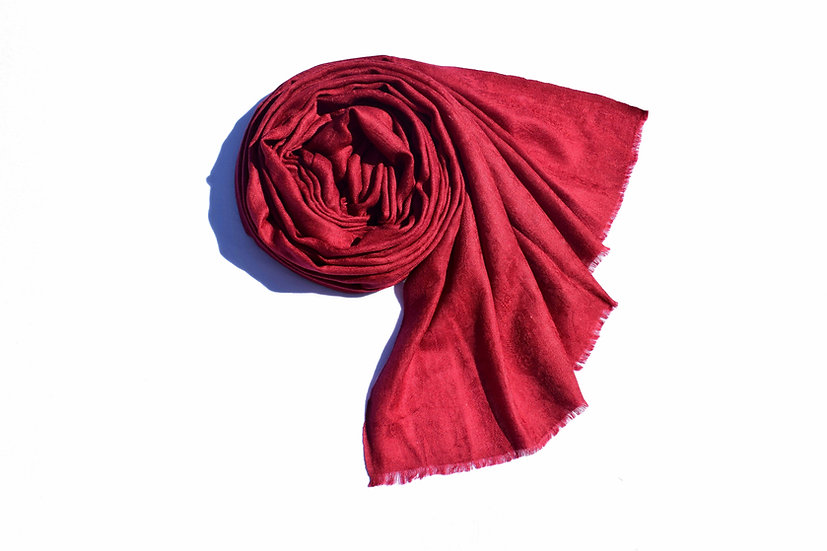 Merino Wool Pashmina - dark red bordeaux with patterns