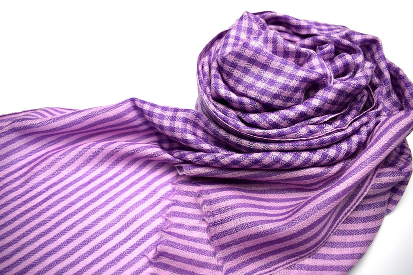 Merino - Wool Pashmina, Scarf Women - plaid purple