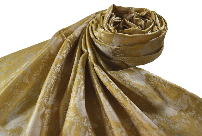 Vegan Double-Sided Animal Patterned Pashmina Golden Yellow