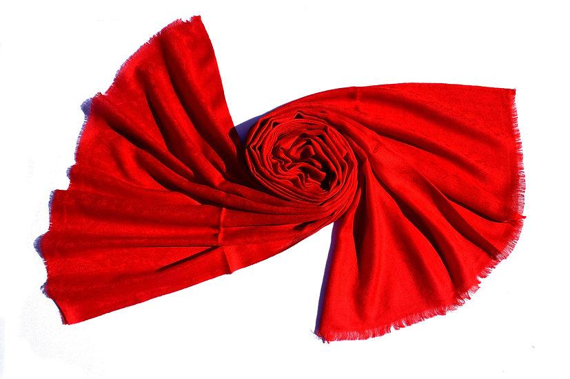 Merino Wool Pashmina - red with patterns