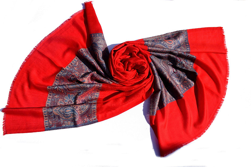 Merino - Wolle Pashmina, rot mit Muster