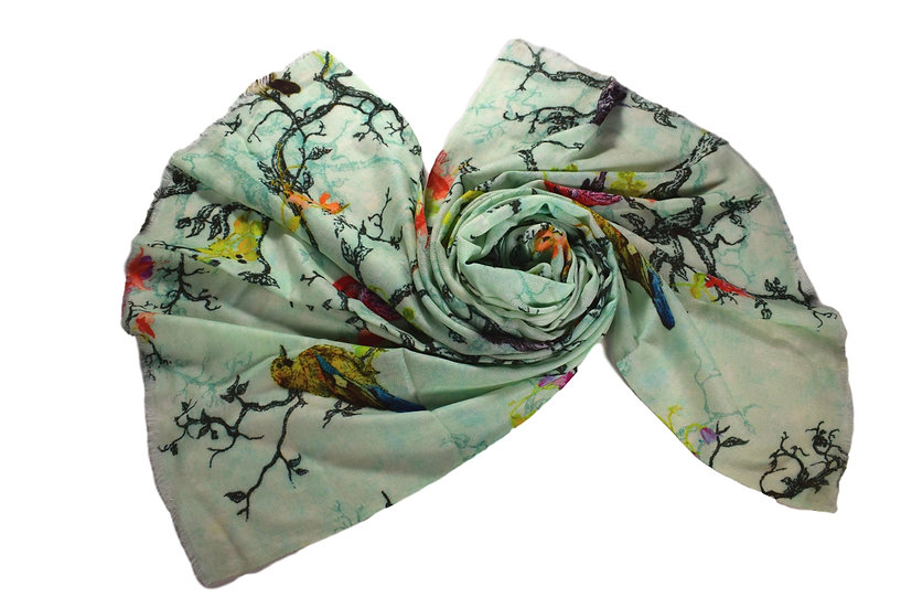 Merino Wool Pashmina - Tree & Birds Printed