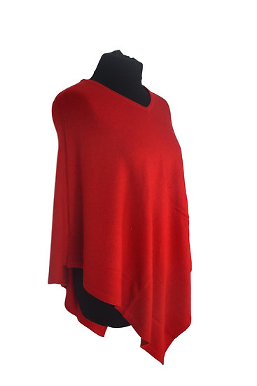 Classic Poncho with Merino Wool, red