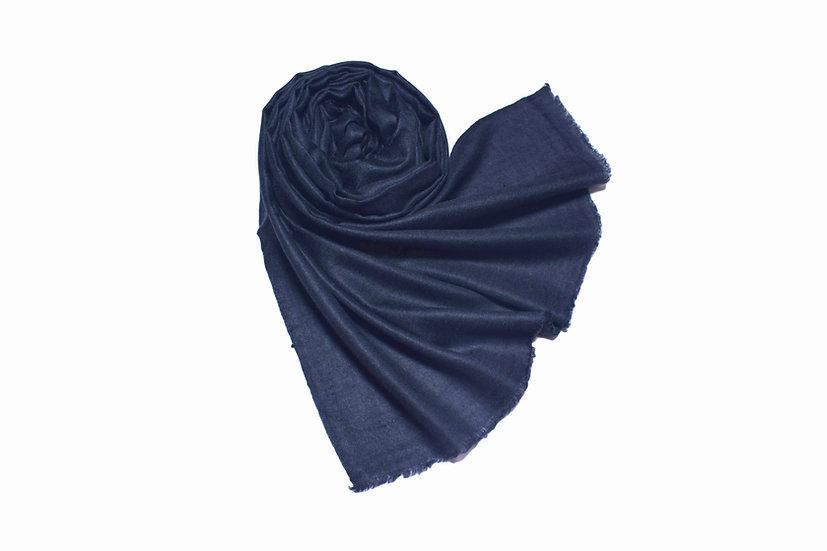 Handgewebter 100% Kaschmir - Pashmina aus dem Himalaya, blau-schwarz