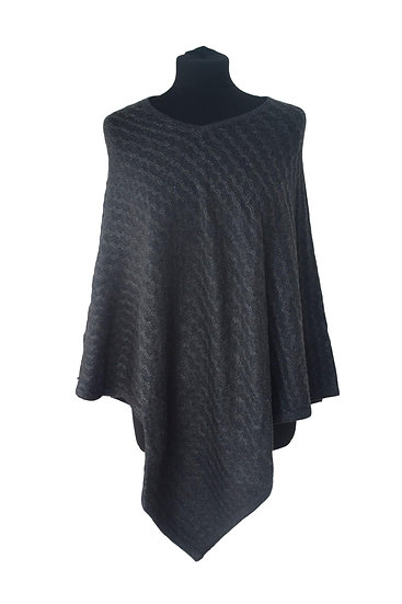 Classic Knitting Pattern Poncho with merino wool, anthracite