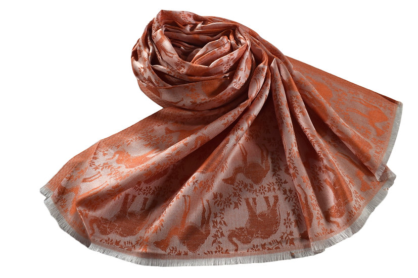 Vegan Double-Sided Animal Patterned-Pashmina Red Orange