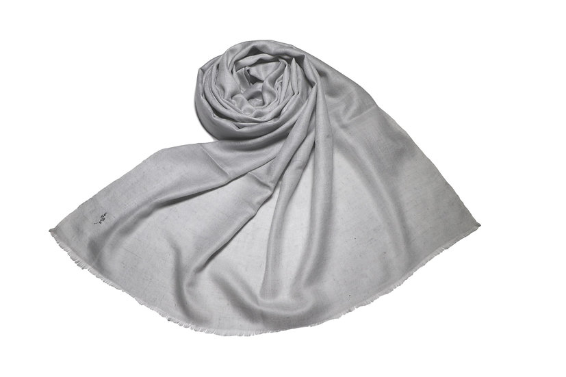 Handwoven 100% Cashmere Pashmina from the Himalayas, light grey color