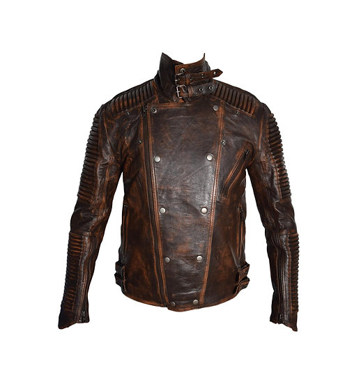 "Bespoke/Tailor-made Leather Jacket ""Vintage Style"" Brown for Men"