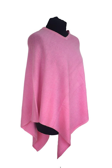 Classic Poncho with Merino Wool - pink