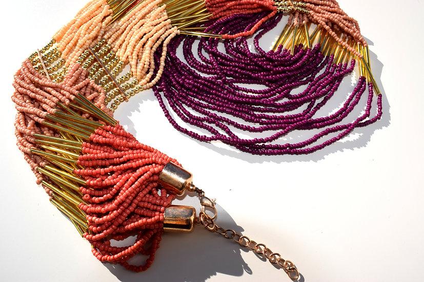 Handgemachte indische Perlenkette, lang