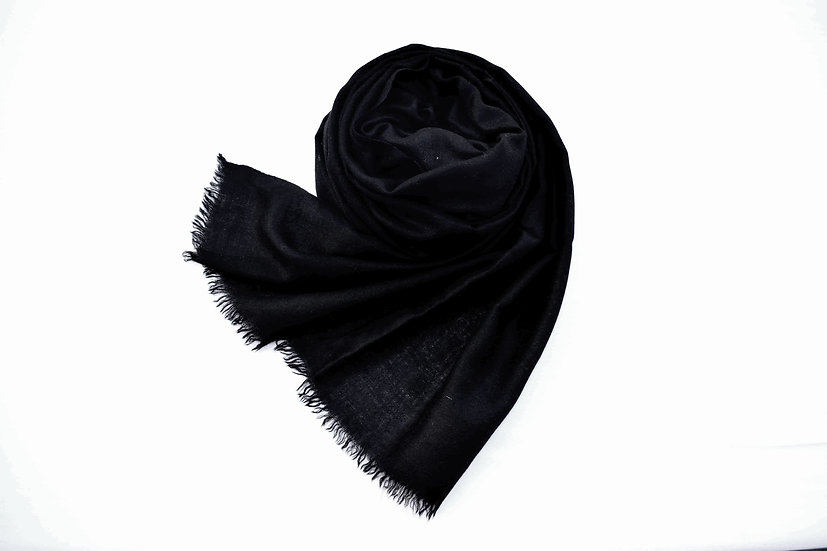 100% Kaschmir - Pashmina in schwarz aus dem Himalaya