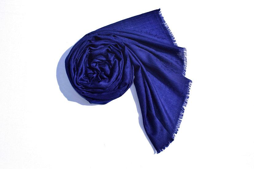 Merino Wool Pashmina - blue with patterns