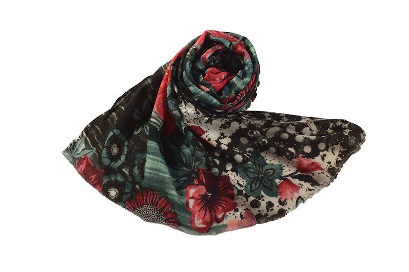 Merino Wool Pashmina Floral Print