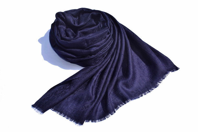 Merino Wool Pashmina - dark blue with patterns
