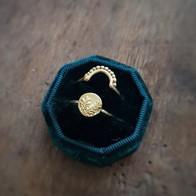 Gouden ring met takje en aanschuifring in goud