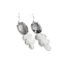Zilveren bladeren oorbellen met rutielkwarts