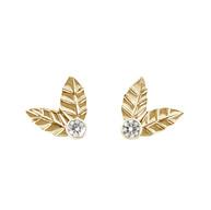 Gouden blaadjes oorstekers met diamant