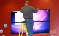 Installing videowall at Cold Stone Creamery