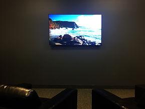 Large TV in meditation room