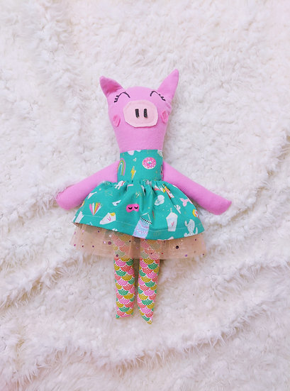 on the verge of whimsy piggy doll