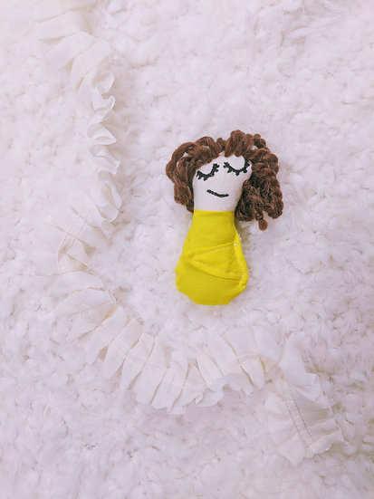 girl in yellow baby doll