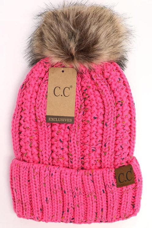 CC Flecked Fur Pom Beanie