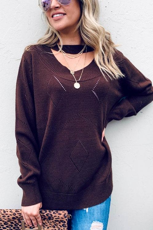 Textured Choker Sweater