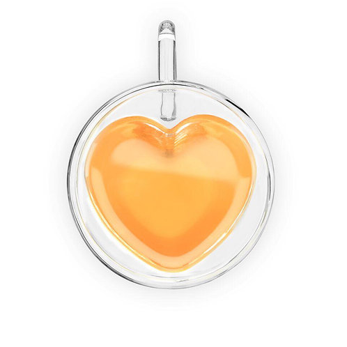 DoubleWalled Heart Glass Mug