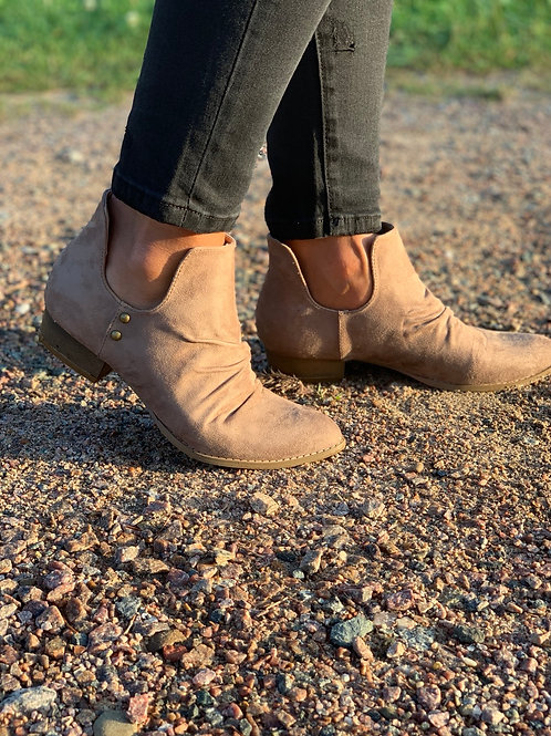 Taupe Slip On Booties