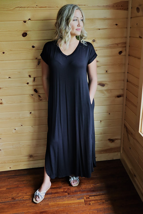 S/S Long Black Dress