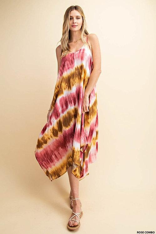 Rose Tie Dye Midi