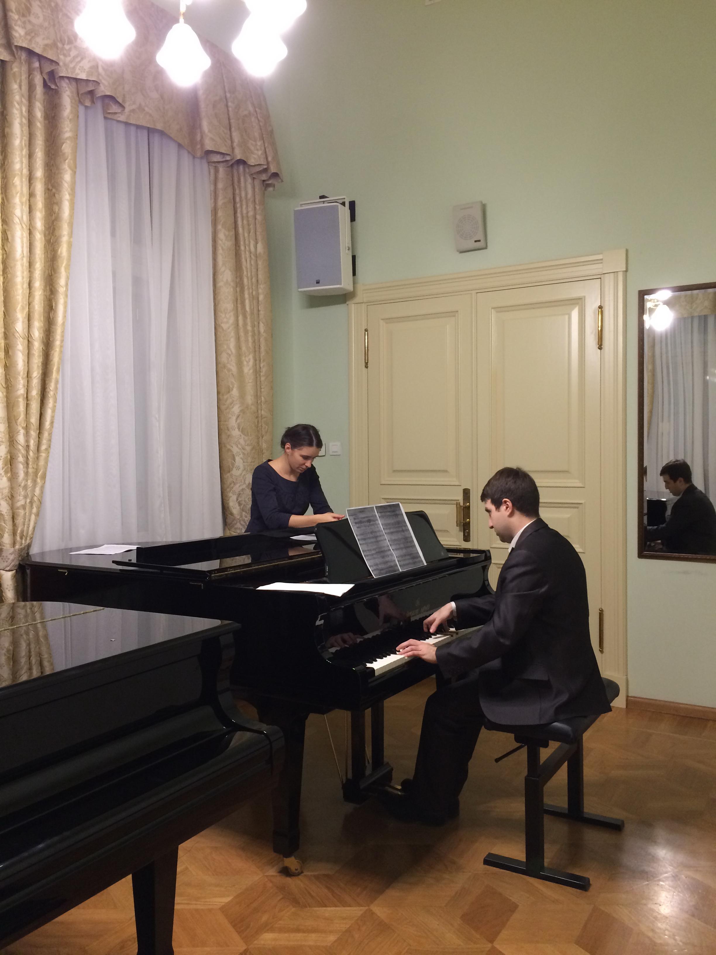 М.Фльорчак и А.Кудряшов на репетиции