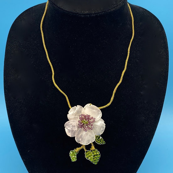 Necklace- Rose quarter's/ gold tone wire/ crystal beads/ hand made.