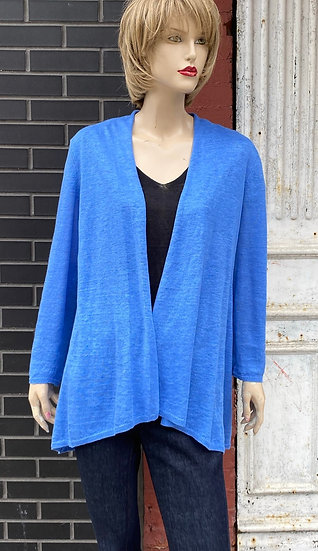 Eileen Fisher Lt Blue throw sweater. Size Large.100% Linen .Made in China.