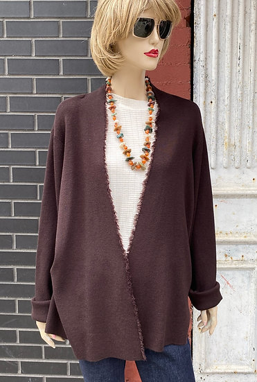 Eileen Fisher brown  throw on long sweater (Small hole in collar) As is Size 1X.