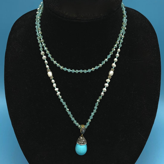"""Necklace-aquarium crystals with turquoise look removable pendant 26"""""""