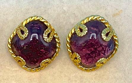 Clip on earrings-Signed Aurientis Dominique made in Paris gold tone purple motif