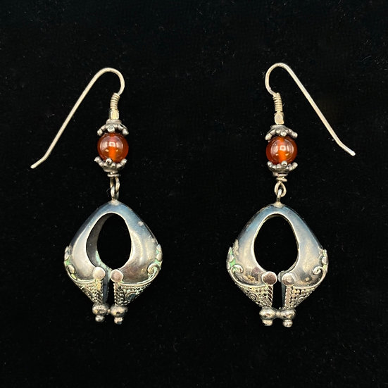 Earrings- Sterling silver and amber.