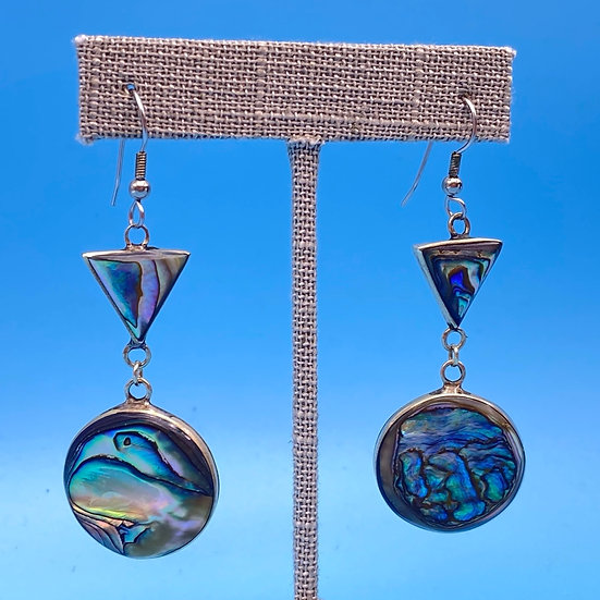 Pierced Earrings: Abalone and Sterling