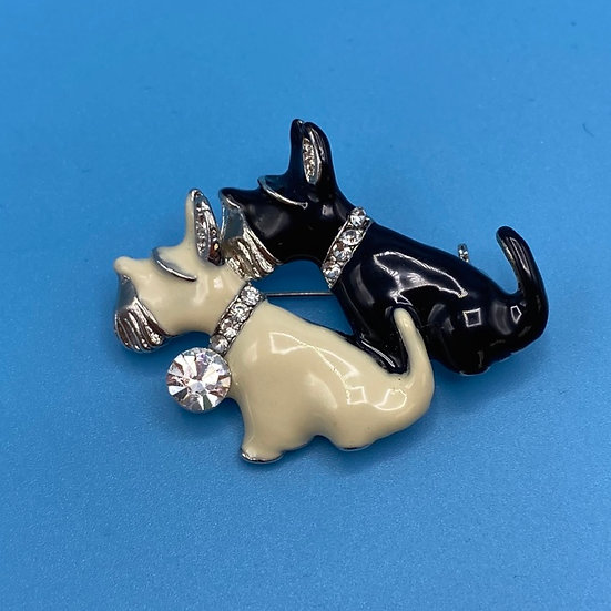 Pin- Black/white /enamel. Scottie dogs.