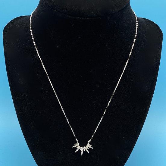 """necklace- Rhodium Dipped cubic zirconia burst 18"""""""